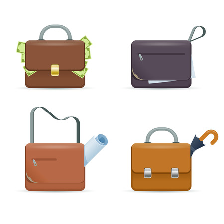 Briefcase. Set of vector icons