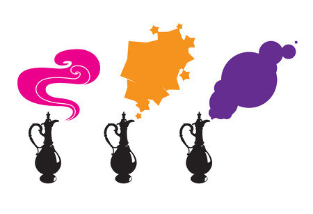 genie in a bottle: Three magic lamp with different form of smoke Illustration