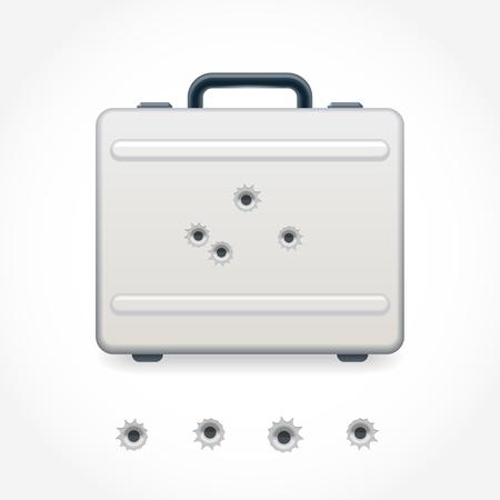 criminal case: Metal case riddled with bullets