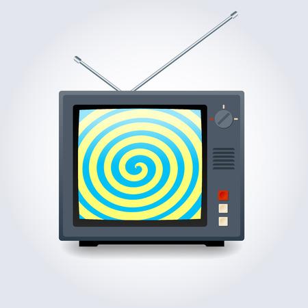 hypnotic: TV set with hypnotic spiral on screen Illustration