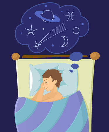 Il ragazzo dormire nel letto e sogna Vettoriali