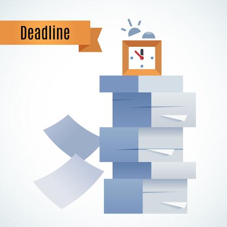 procrastination: Stack of paper and alarm clock Illustration