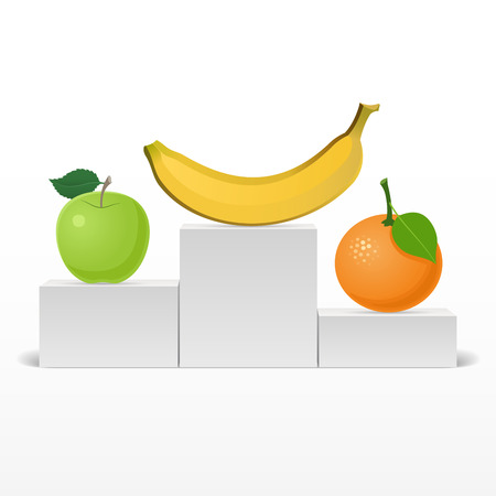 apple orange: Banana, apple, orange on the podium