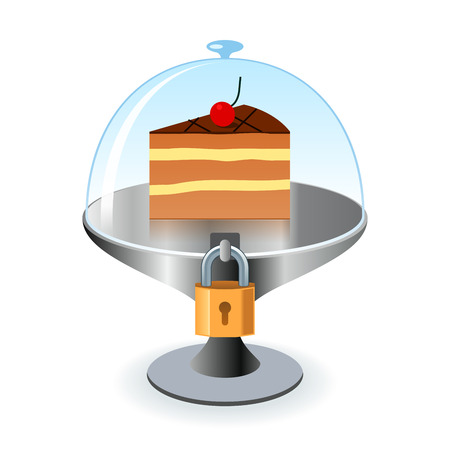 dependence: Piece of cake under lock and key. Conceptual illustration