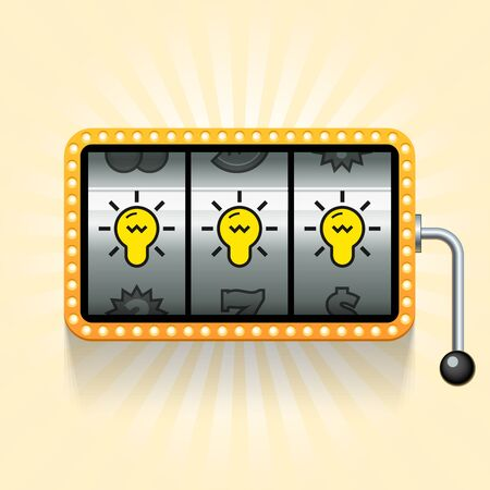 slot in: Bulbs in slot machine. Conceptual illustration