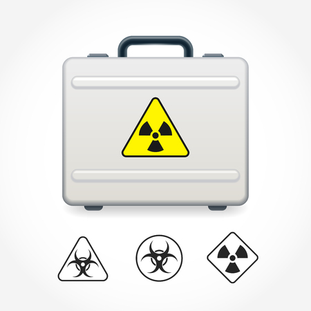 gamma radiation: Metal case with sign on radiation danger Illustration