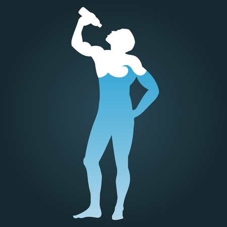 quench: Man drinking water. Silhouette of human body, which consists of water