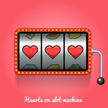slot machines: Corazones en la máquina tragaperras. ilustración conceptual