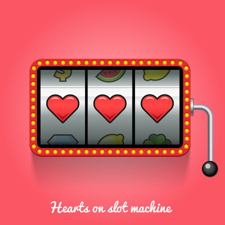Hearts on slot machine. Conceptual illustration Stock Illustratie