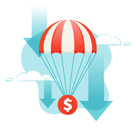 descends: Dollar falling. Coin descends by parachute