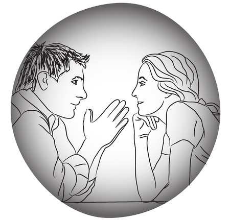 drow: conversation couple love dating evening without rules concept vector illustration grey black white line drow Illustration