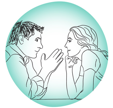 drow: conversation couple love dating evening without rules concept vector illustration blue black white line drow Illustration