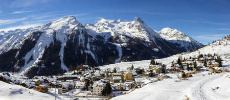aosta: Alpine village of Gimillan in Aosta valley, Italy Stock Photo