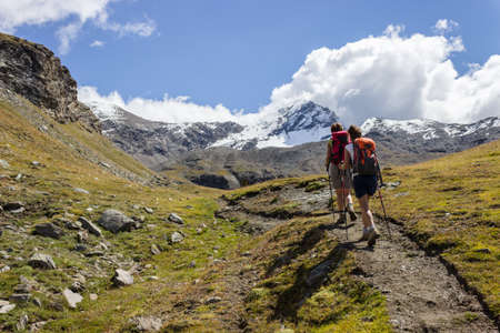aosta: Hiking trail in Aosta Valley, Italy