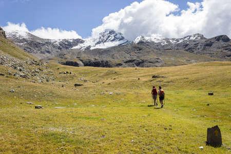 aosta: Hiking trail in Aosta Valley near to Tersiva, Italy