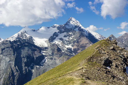 aosta: Hiking in Aosta Valley, view of Grivola group from Tsa with Seche Stock Photo