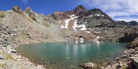 aosta: Hiking in Aosta valley, alpine lake of Garin, Italy Stock Photo