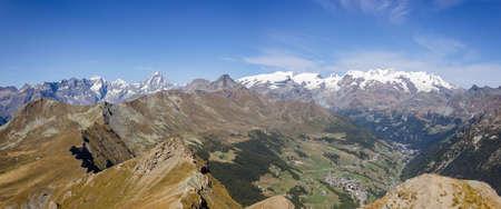 aosta: Landscape from Zerbion peak, Monte Rosa Group, Aosta, Italy Stock Photo