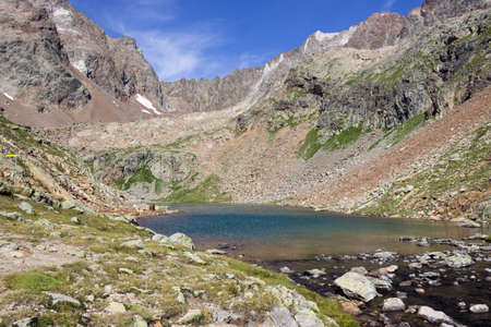 Alpine lake in Aosta valley, Italy. Lac Long, Valpelline