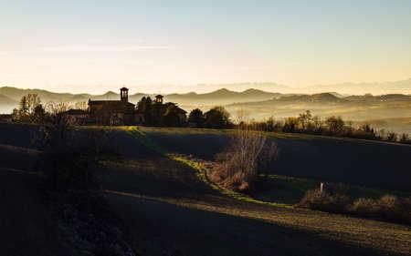 Winter sunset in the Monferrato hills. Piedmont, Italy