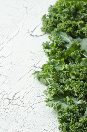 backgroung: Fresh green kale on white backgroung with space for text Stock Photo