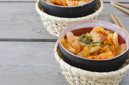 cope: Korean cabbage kimchi with hot pepper background with cope spase Stock Photo