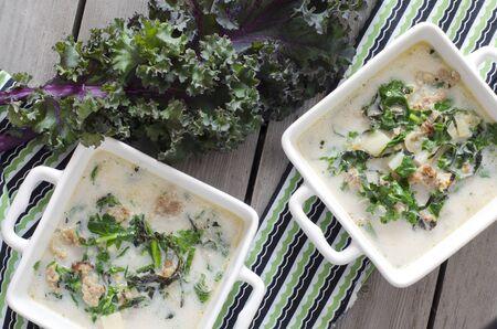tuscana: Zuppa Toscana. Sausage and Kale Tuscana Soup Stock Photo
