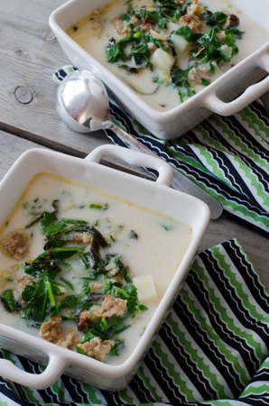 tuscana: Zuppa Toscana. Sausage and Kale Tuscana Soup Stock Photo