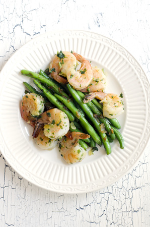 Green beans with fried shrimps