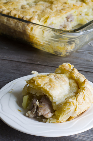 Traditional pie filled with meat potato