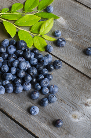 blueberries on wooden background. Health and diet concept. Copy space.