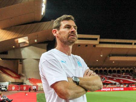 L'entraîneur André Villas-Boas (OM) lors du match de championnat de France de L1 entre l'AS Monaco et l'Olympique de Marseille le 15 septembre 2019 au stade Louis II de Monaco - Photo Nderim Kaceli