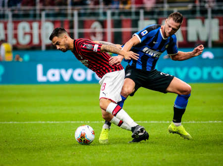 during the Italian championship Serie A football match between AC Milan and FC Internazionale on September 21, 2019 at Giuseppe Meazza stadium in Milan, Italy - Photo Nderim Kaceli / DPPI Éditoriale