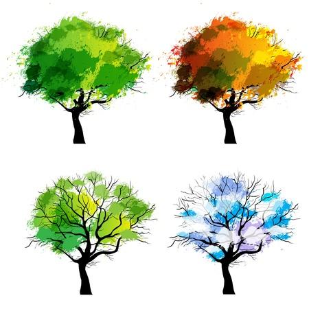 Bäume der vier Jahreszeiten - Frühling, Sommer, Herbst, Winter Standard-Bild - 21581921
