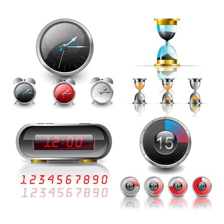 clocks and stopwatch detailed  Vector
