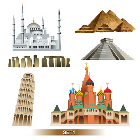 wonders: World Landmark icon set