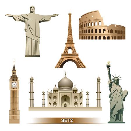유명한: 세계 랜드 마크 아이콘을 설정 일러스트
