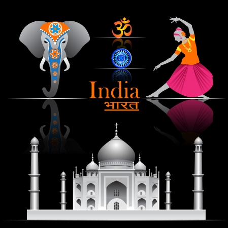 the taj mahal: India vector set   Illustration