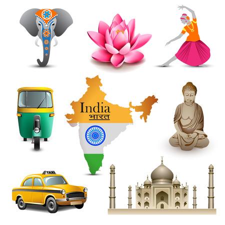 インド: インド旅行セット アイコン、ベクトルします。  イラスト・ベクター素材