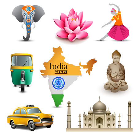 indian yoga: India set da viaggio icone, vector