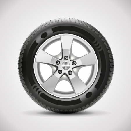 winter car: car tire, vector Illustration