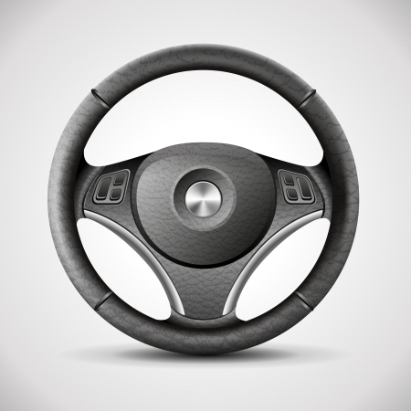 vector wheel: steering wheel, detailed realistic vector