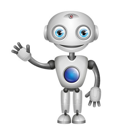 robot cartoon: Vector Cute Robot with big eyes