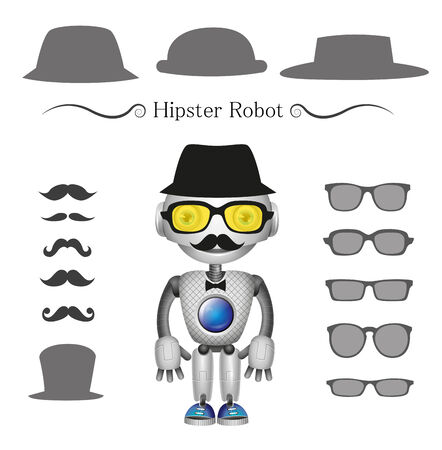 vector hipster robot Vector