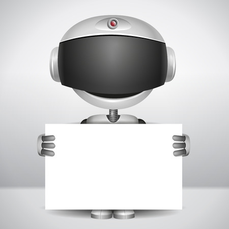 robot holding white paper to write your text  Ilustrace