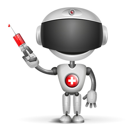 Robot Doctor holding medical injection syringe Ilustrace
