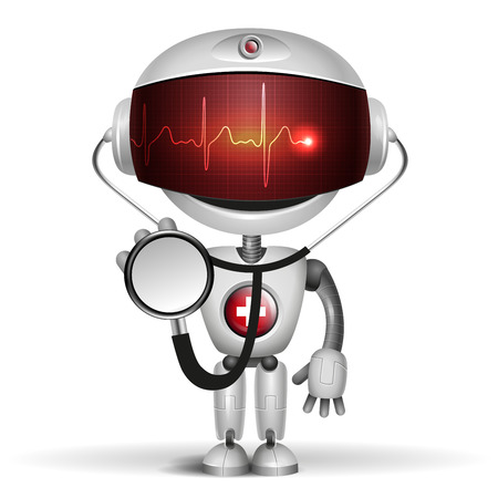 robot vector: Robot Doctor with stethoscope  Screen indicator show cardiogram  Vector illustration