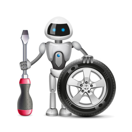turn screw: The robot with a car wheel and a screwdriver, vector