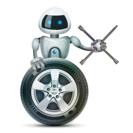 brace: The robot with a wheel and a wheel brace, vector
