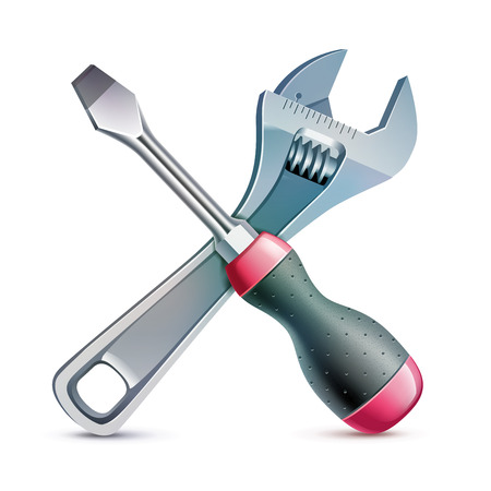 adjustable wrench: screwdriver and an adjustable wrench lie crosswise, realistic vector